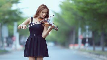 Фото бесплатно девушка, скрипачка, платье