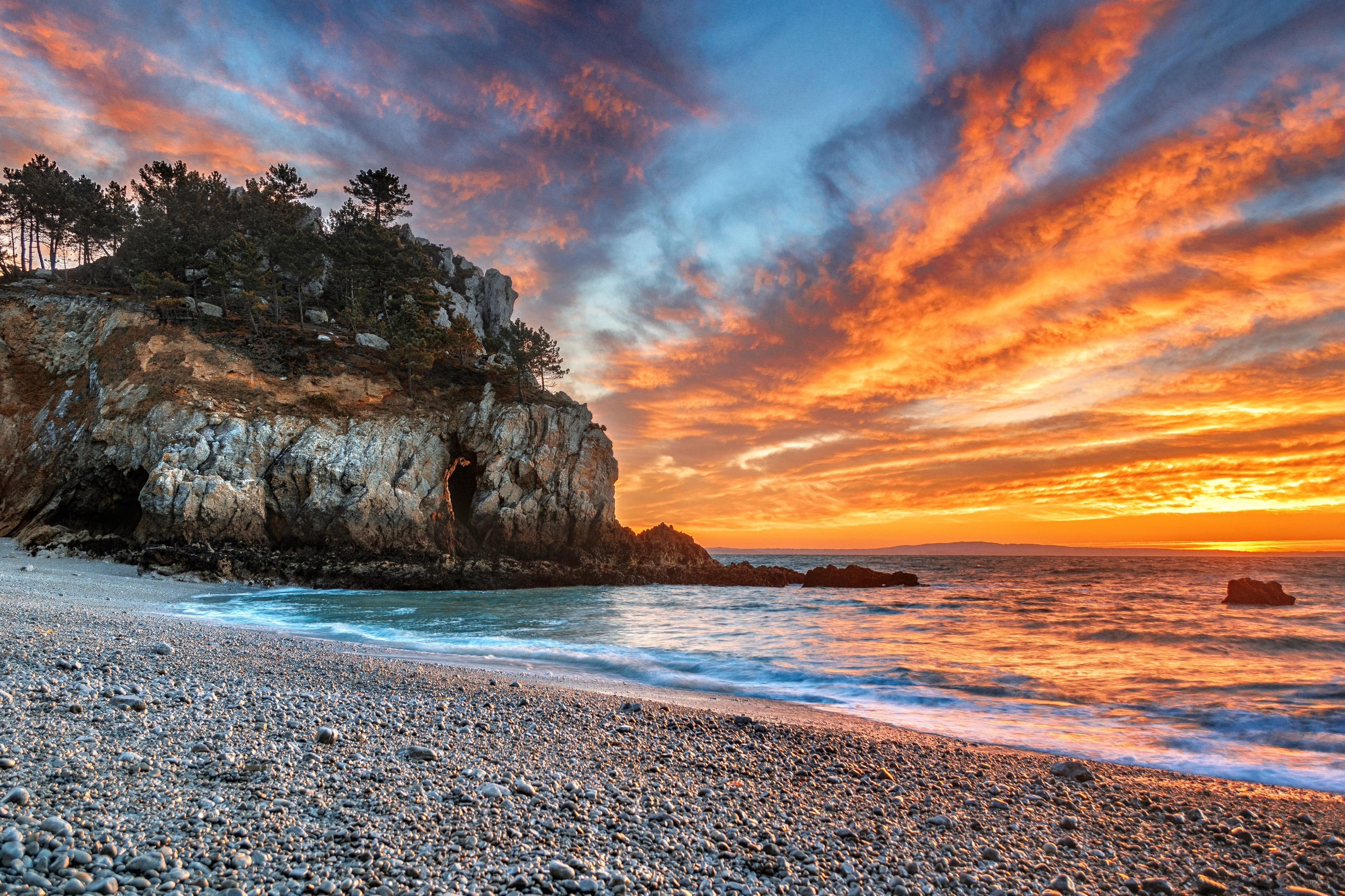 обои Залив Шалёр, Канада, закат, море картинки фото