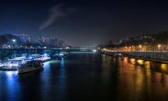 Бесплатные фото Франция, ночь, Париж, Сена