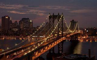 Бесплатные фото ночь,река,мост,подсветка,огни,дома,высотки
