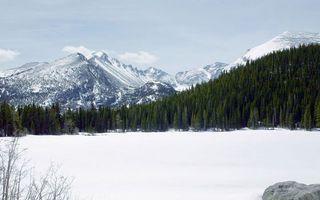 Фото бесплатно озеро, снег, лес