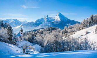 Фото бесплатно berchtesgaden, bavaria, germany, alps, mount watzmann, национальный парк, берхтесгаден, паломническая, церковь, мария, герн, бавария, германия, зима, горы, пейзаж
