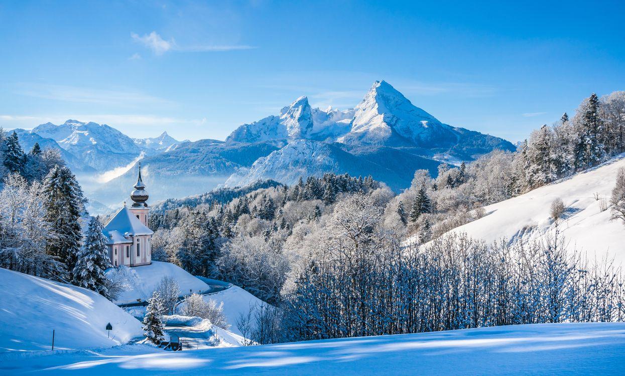Фото бесплатно berchtesgaden, bavaria, germany, alps, mount watzmann, национальный парк, берхтесгаден, паломническая, церковь, мария, герн, бавария, германия, зима, горы, пейзажи