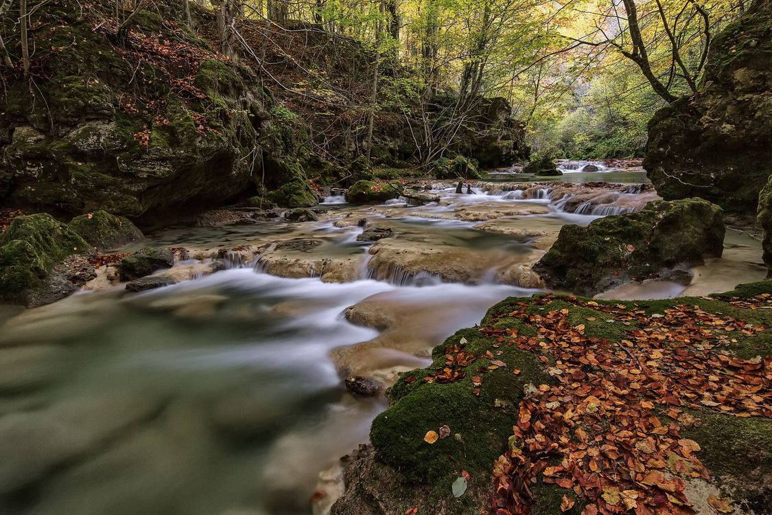 Фото бесплатно Rio Urederra, Sierra de Urbasa, Наварра, Испания, лес, река, водопад, деревья, природа, природа