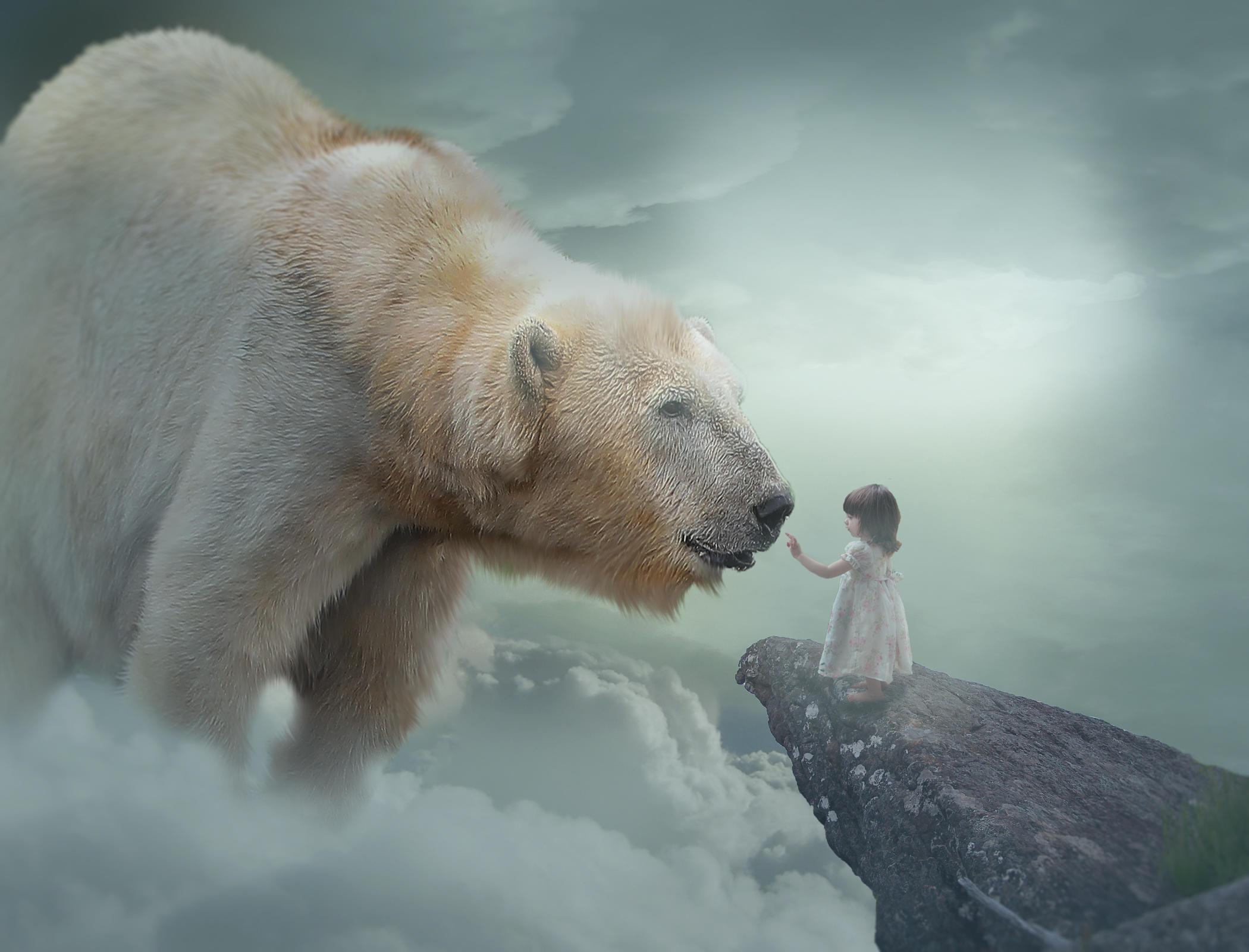 Обои белый медведь, полярный медведь, девочка, ребёнок