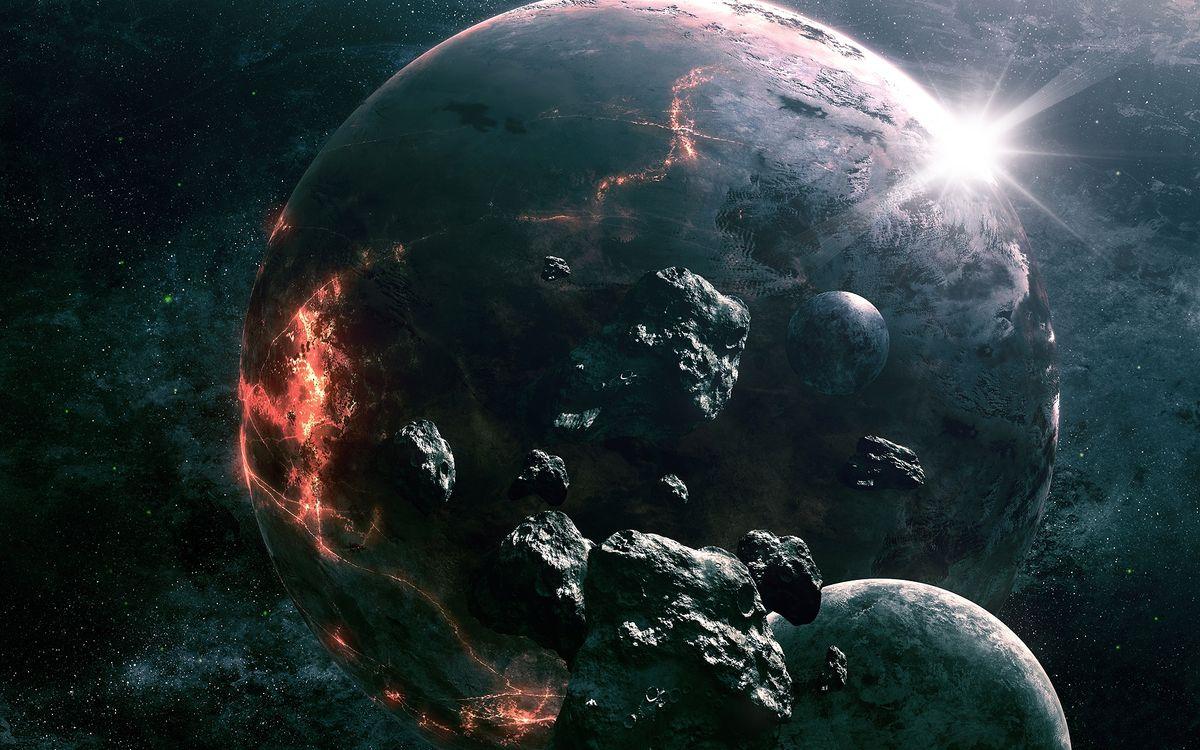 Фото бесплатно столкновение планет, обломки, астероиды, звезды, космос - скачать на рабочий стол
