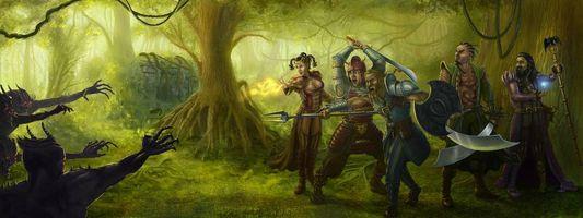 Фото бесплатно воины, монстры, панорама