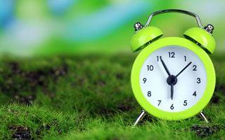 Заставки зеленый будильник, трава, газон