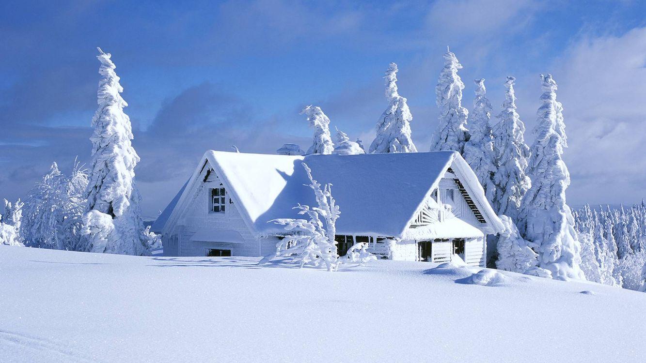 Фото бесплатно зима, дом, окна, крыша, деревья, снег, сугробы, пейзажи - скачать на рабочий стол