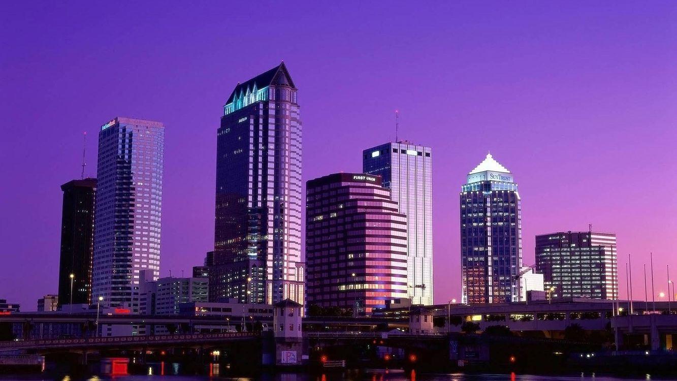 Фото бесплатно вечер, дома, здания, небоскребы, огни, небо, город