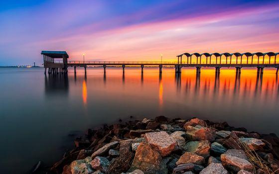 Photo free stones, lights, sea