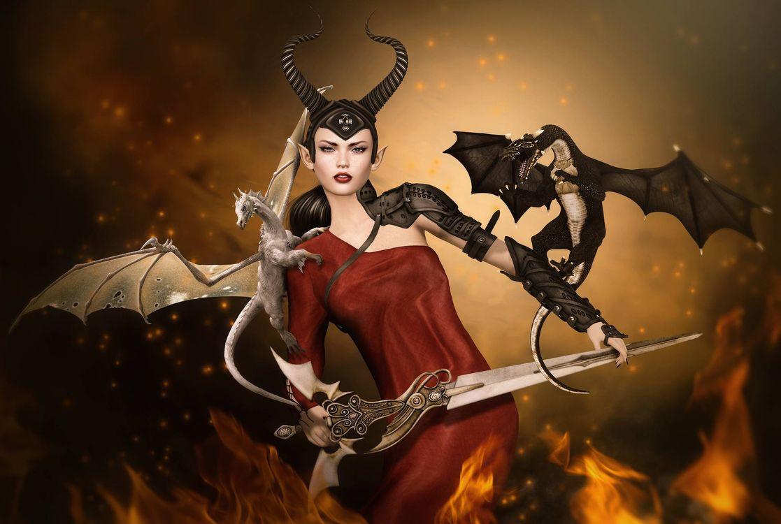 Фото бесплатно фантастическая девушка, девушка, драконы - на рабочий стол
