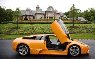 Бесплатные фото ламборджини,оранжевая,двери вверх,дорога,газон,особняк