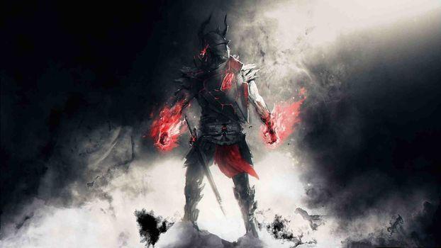 Фото бесплатно рыцарь, смерть, огонь