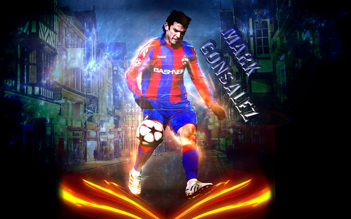 Фото бесплатно футболист, марк гонсалес, мяч, надпись, фон, улица, спорт