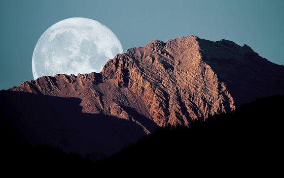 Бесплатные фото гора,восход солнца,высота,небо,луна
