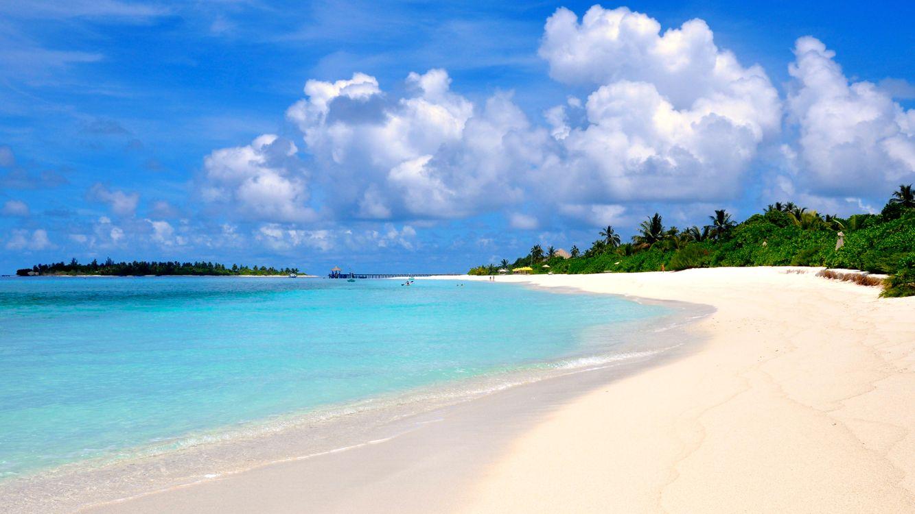 Фото бесплатно Мальдивы, море, остров - на рабочий стол