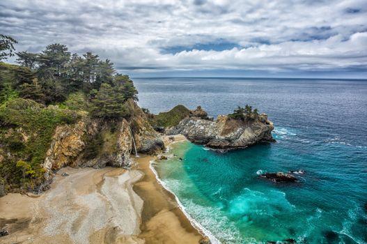 Бесплатные фото Mckway Falls,Big Sur,California
