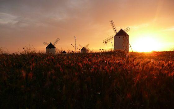 Фото бесплатно мельницы, закат, трава