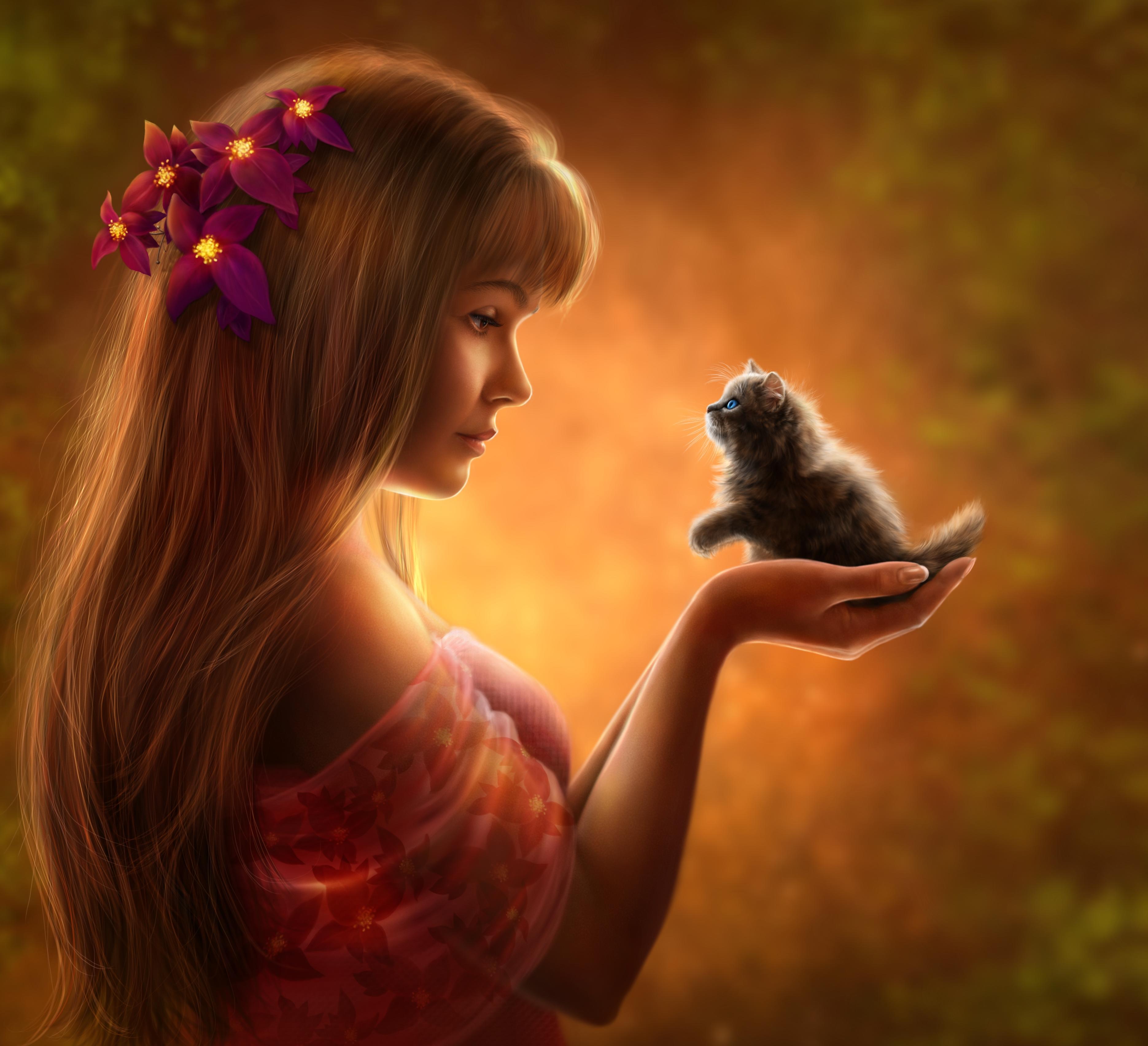 Обои девушка, котёнок, art