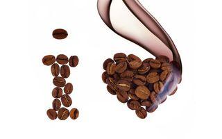 Обои кофе, зерна, буква, сердце, я люблю кофе, фон белый