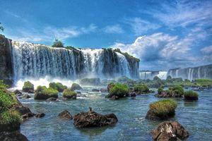 Бесплатные фото большой водопад,река,скалы,камни