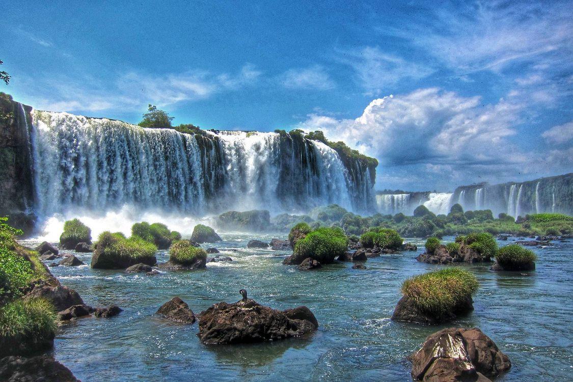 Фото бесплатно большой водопад, река, скалы, камни, пейзажи