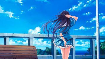 Бесплатные фото девушка, аниме, балкон, небо, лавочка