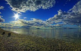Бесплатные фото берег, галька, озеро, небо, облака, солнце