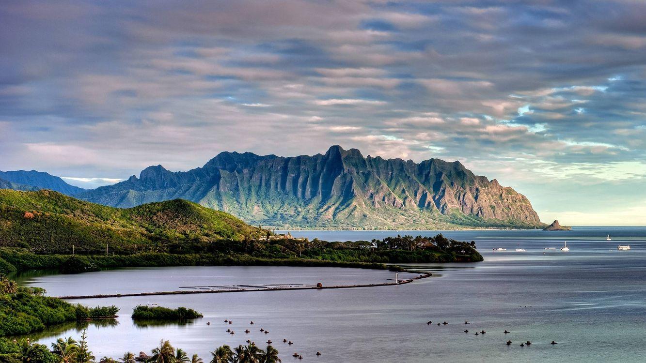 Фото бесплатно горы на берегу океана, горы, лодки - на рабочий стол