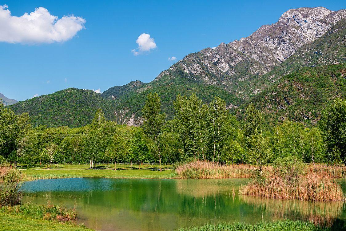 Фото бесплатно горы, водоём, деревья - на рабочий стол