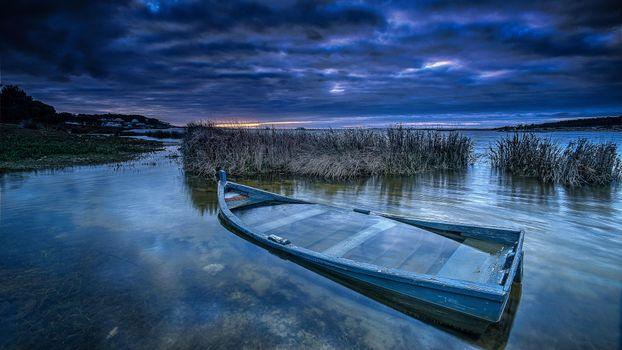 Заставки озеро, закат, лодка