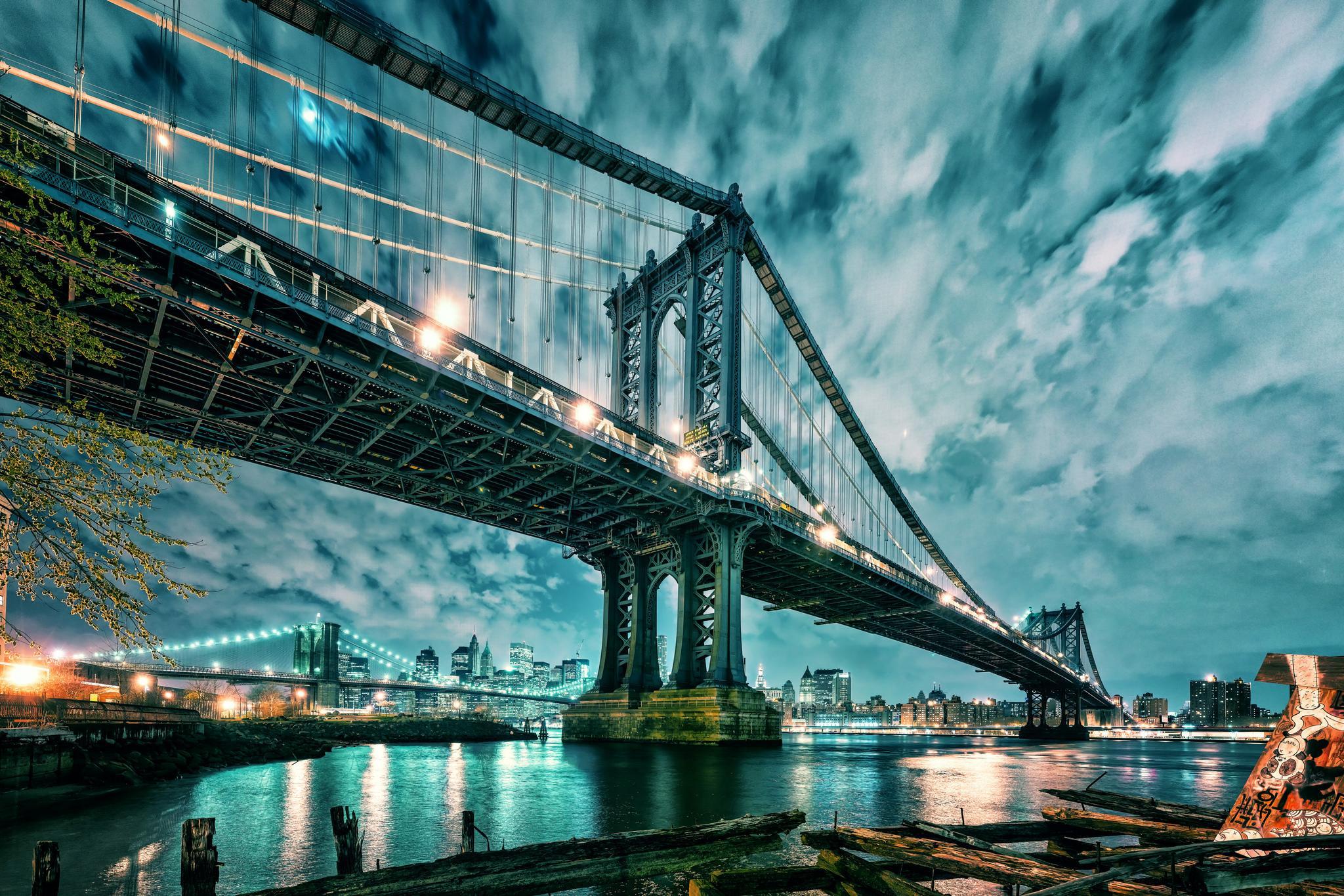 Manhattan, Brooklyn Bridge, Манхэттен и Бруклинский мост
