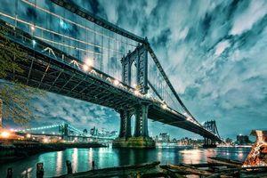 Бесплатные фото Manhattan,Brooklyn Bridge,Манхэттен и Бруклинский мост,Нью-Йорк