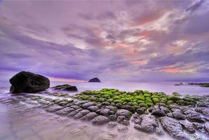 Заставки закат, море, берег, скалы, пейзаж