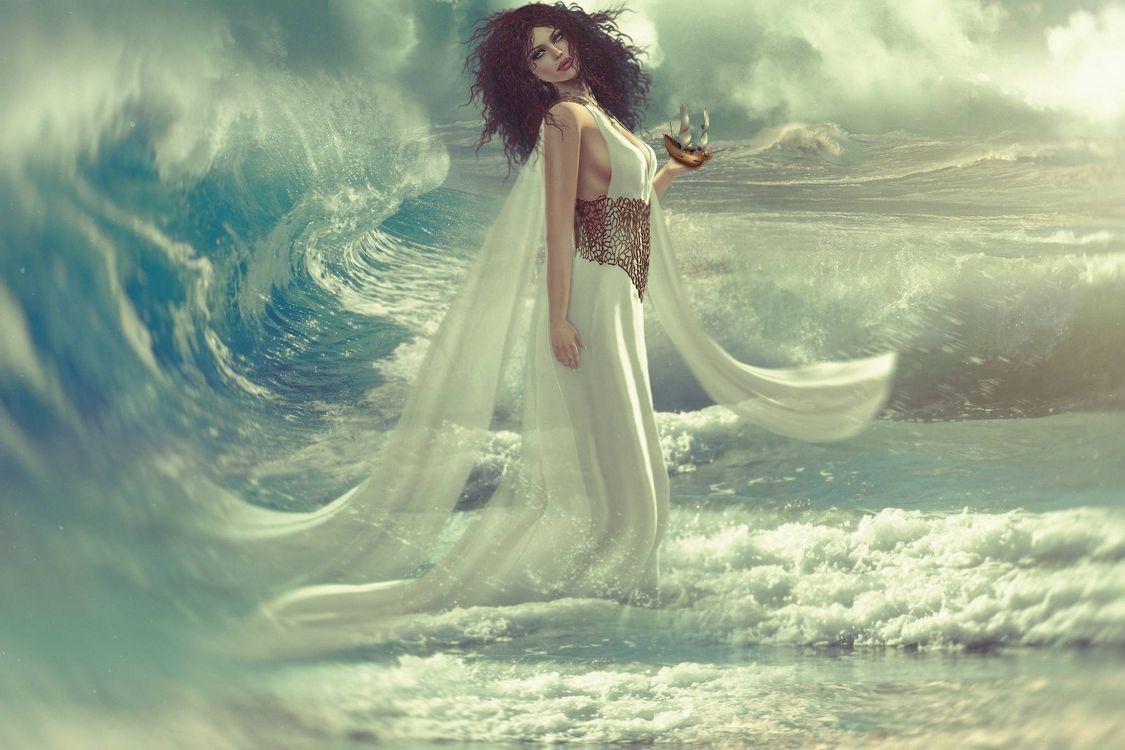 Фото бесплатно девушка, фантастическая девушка, море, волна, фантастика, art - на рабочий стол