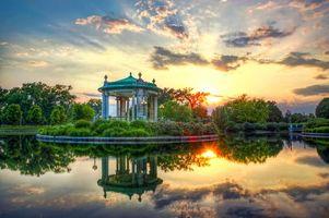 Фото бесплатно лесопарк, закат, пруд