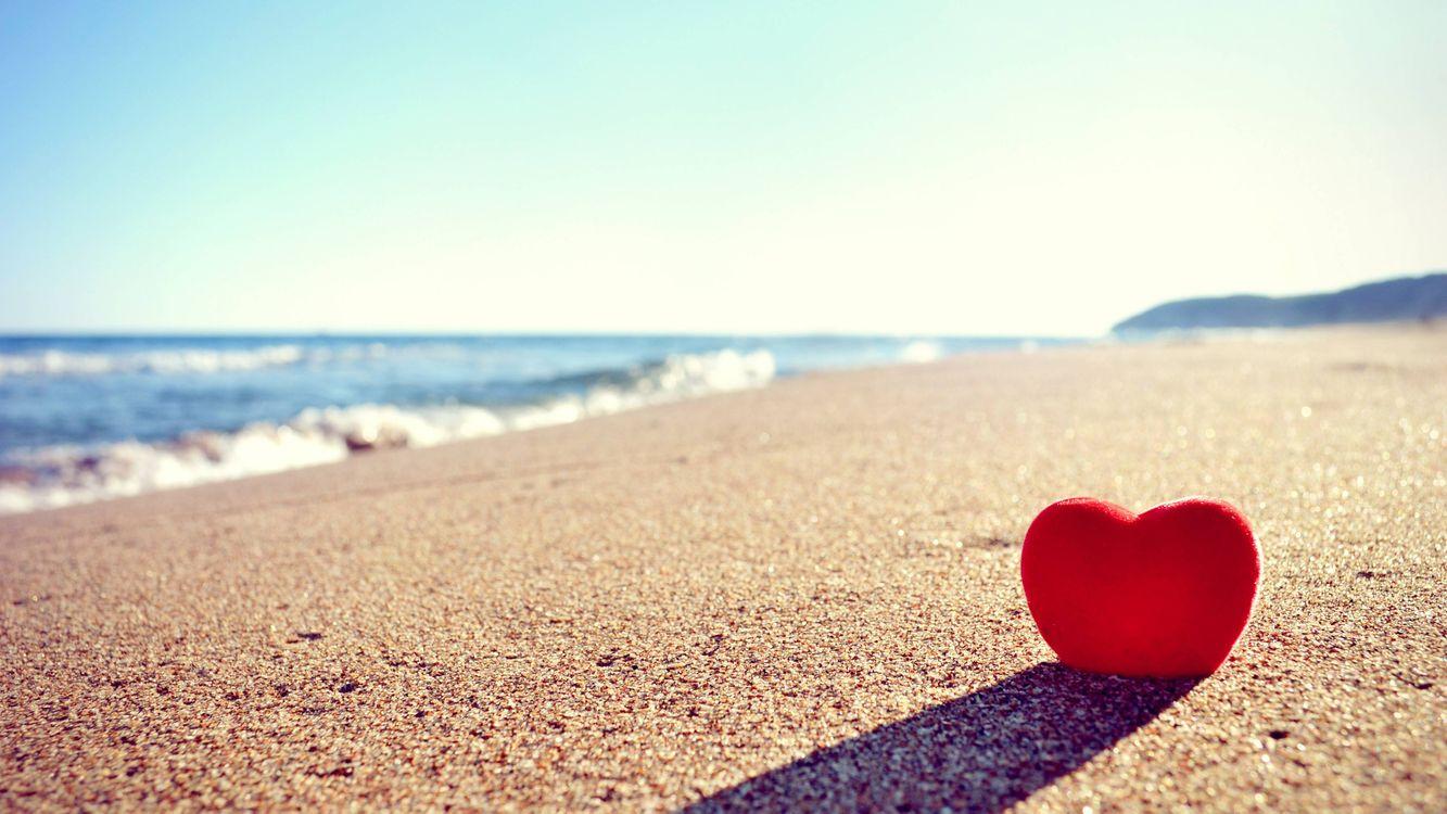 Фото бесплатно сердечко на пляже, море, пляж, настроения