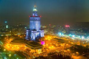 Фото бесплатно Варшава, Польша, город, ночь, огни
