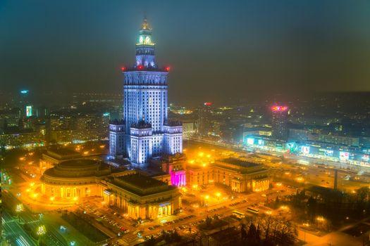 Бесплатные фото Варшава,Польша,город,ночь,огни