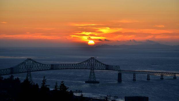 Фото бесплатно мост, пролив, закат