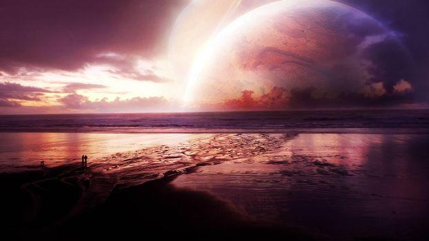Бесплатные фото неизвестные миры,планета,океан,спутник,пейзаж
