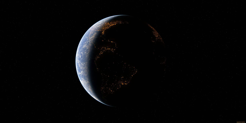 Фото бесплатно планета Земля, темная сторона, ночь, огни, жизнь, космос