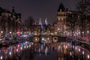 Бесплатные фото Amsterdam,Netherlands,Амстердам,Нидерланды,город,ночь
