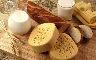 Бесплатные фото графин,стакан,молоко,батон,сыр,масло,колосья