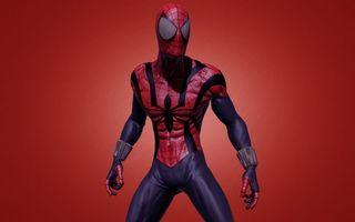 Заставки человек паук, супергерой, костюм, рисунок, паутина, фон красный