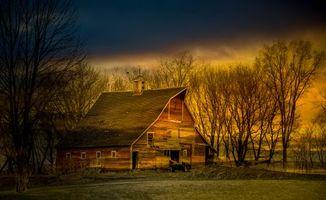 Фото бесплатно поле, дом, деревья