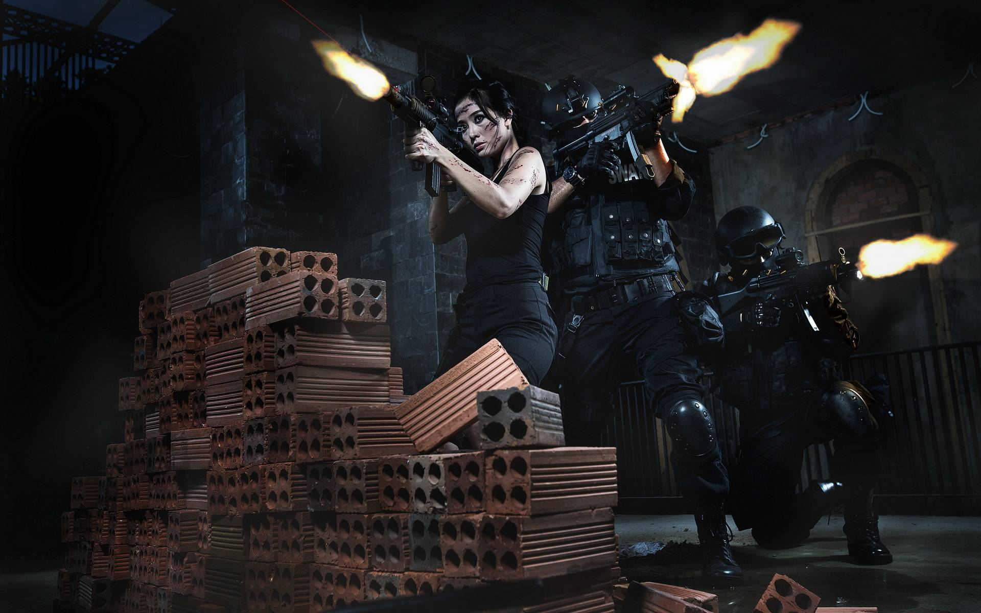 Обои солдаты, воины, девушка, оружие