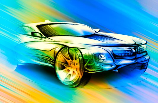 Photo free car, drawing, multicolored