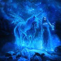 Заставки девушка, конь, пегас, ночь, фантастика